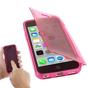 Mobiele geval flip over voor mobiele iPhone 5 c roze