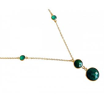 Ladies - necklace - pendant - 925 Silver - gold plated - emerald - green - faceted - 45 cm