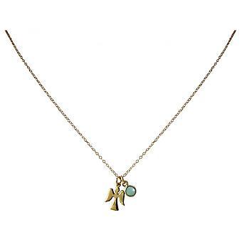 Dames - Collier - pendentif - anges - ange gardien - 925 argent calcédoine - plaqué or - - verte - Meeresgrün - 1,3 cm