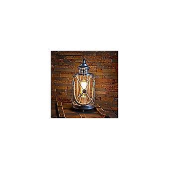 EGLO rustique argent E27 Lampe de Table avec poignée corde, Bradford