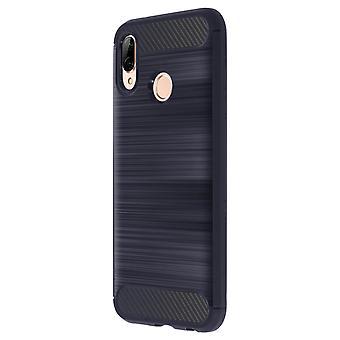 Karbon børstet TPU tilfelle, silikon dekning for Huawei P20 Lite - marineblå