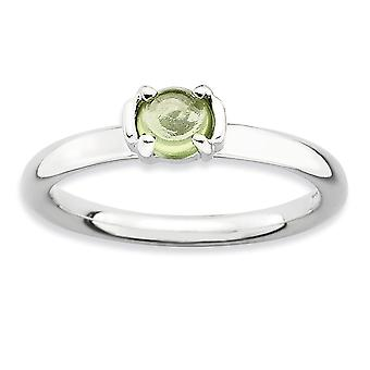 2.5mm 925 Sterling Silver Prong ensemble Rhodium plaqué Expressions Empilables Polished Peridot Ring Jewelry Gifts for Women -