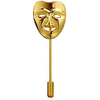 Bassin og brun lykkelig maske jakkeslaget Pin - gull