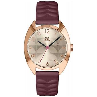 Orla Kiely | Mesdames Béatrice | Crème de Sun Ray Dial | Plum sangle OK2296 Watch