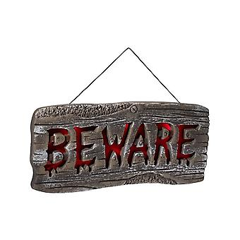 Smiffy's Light Up Hanging Beware Sign Grey & Red Batteries Included