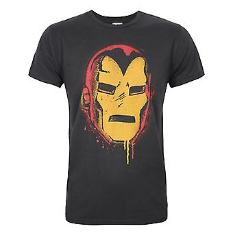 Junk Food Iron Man Face Men's T-Shirt Black
