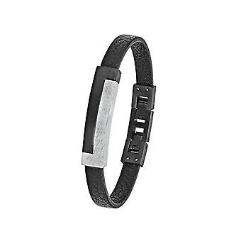 s.Oliver jewel mens leather bracelet black stainless steel 2024241