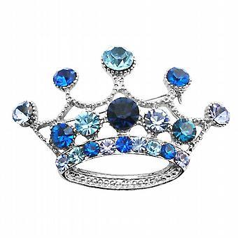 Vintage coroa broche broche de coroa azul escuro & Lite de cristais