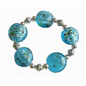 Bali etnici argento tibetano Millefiori ovale blu bracciale estensibile