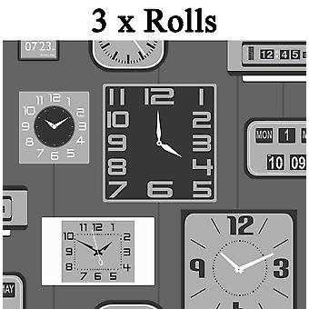 3 x Clocks Wallpaper Luxury Heavyweight Paste The Paper Grey Black Metallic