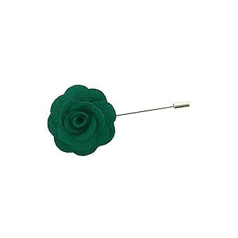 Dobell Mens Racing Green Flower Lapel Pin for Suit, Jacket, Blazer, Wedding Accessory
