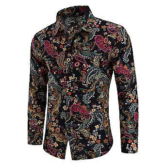 Allthemen Men's Long Sleeve Shirt Flax Floral Printed Shirt