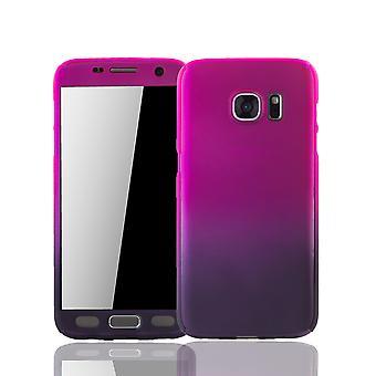 Samsung Galaxy S7 Handy-Hülle Schutzcase Cover Panzer Schutz Glas Pink / Violett