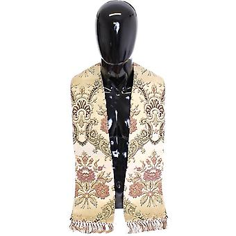 Scarf men's beige silk necktie baroque pattern