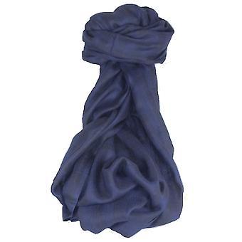 Cashmere Srinagar Muffler Scarf Medium Check Dark Blue by Pashmina & Silk