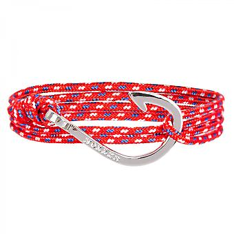 Holler Kirby  Silver Polished Hook / Red, Blue and White Paracord Bracelet HLB-03SRP-P02
