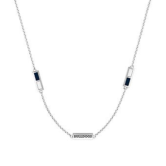 Yale University Sterling Silver Engraved Triple Station Necklace In Blue and White