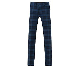 Dobell Boys Blue Tartan Suit Trousers Regular Fit