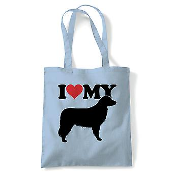 I Love My Bernese Mountain Dog Tote - Reusable Shopping Canvas Bag Gift