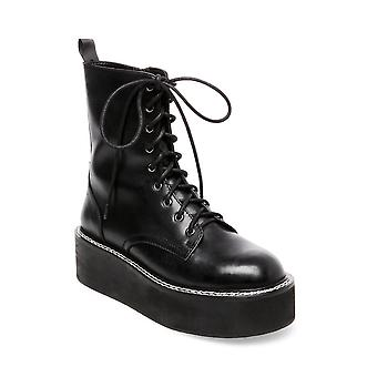 Steve Madden Womens Feud Leather Closed Toe Ankle Combat Boots