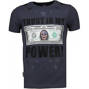 Trust In My Power - Rhinestone T-shirt - Donker Grijs