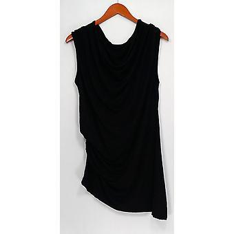 H par Halston Top Cowl Neck Knit Side Ruche Solid Black A274540