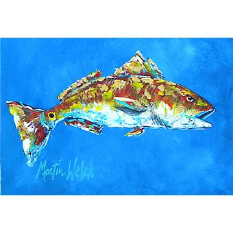Carolines Treasures  MW1098PLMT Fish - Red Fish Seafood Two Fabric Placemat
