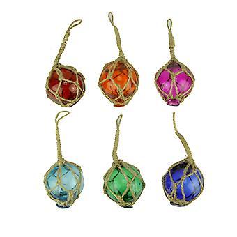 Colorful Mini Glass Fishing Float Nautical Ornaments Set of 6