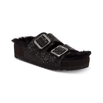 INC International Concepts Womens Alani Faux Fur Open Toe Casual Slide Sandals