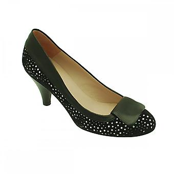 Audley Black Women's Laser Cut Low Heel Court Shoe
