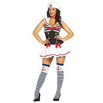 Naisten pieni merimies nainen naamiaispuku puku