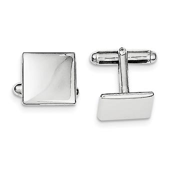 925 Sterling Silver Solid Polished Engravable Rhodium plated Rhodium Plated Square Cuff Links Jewelry Gifts for Men