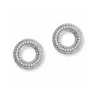 925 Sterling Silver Rhodium plated and CZ Cubic Zirconia Simulated Diamond Brilliant Embers Circle Post Earrings Jewelry