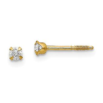 14k Yellow Gold Polished Screw back Post Earrings 2.25mm CZ Cubic Zirconia Simulated Diamond Baby Earrings Jewelry Gifts