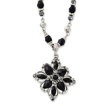 Silver tone Fancy Lobster Closure Clear Black Hematite Crystal and Acrylic Stone 16 Inch Necklace Jewelry Gifts for Wome