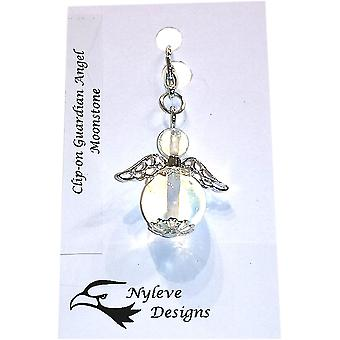 Handmade Clip-on Semi-precious Moonstone Gemstone Guardian Angel in Silver Plated by Nyleve Designs