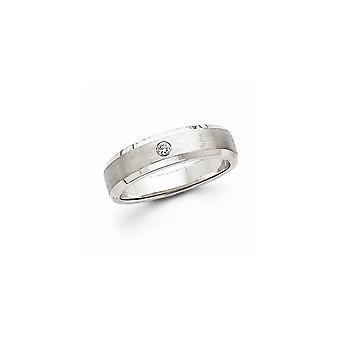 14k oro bianco lunetta non engraveable lucido e satinato diamante uomo fedina -.04 dwt - dimensione 10