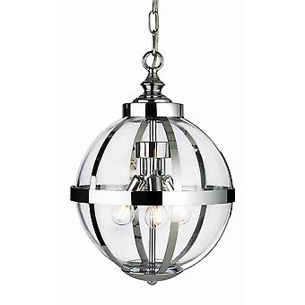 Firstlight Monroe 3 Light Cage Pendant Light Chrome con Clear Glass 3708CH