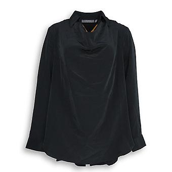 Lisa Rinna Collection Women's Top Collared Cowl Neck Blouse Black A278954