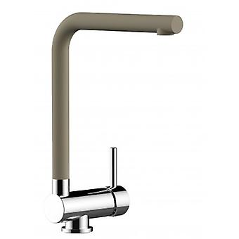 Single-lever Kitchen Sink Mixer With L Swivel Folding Dove Gray (tortora) Spout - 105
