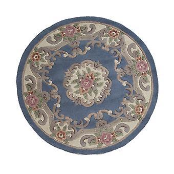 Lotus Premium Aubusson Teppich - Kreis - Blau
