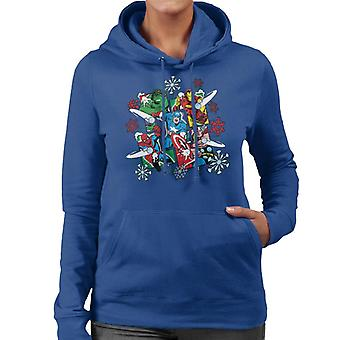 Marvel Christmas The Avengers Comic Panel Snowballs Women's Hooded Sweatshirt