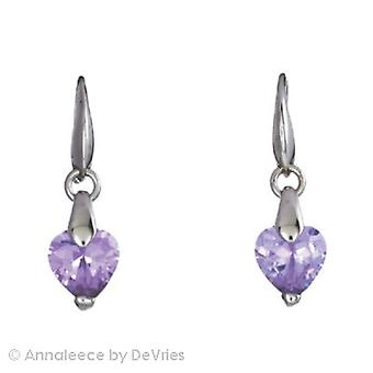 Annaleece 30mm Heart drop fülbevaló W/Lilac Crystal