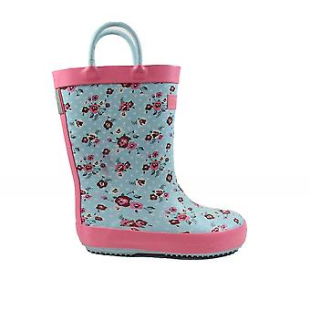 Startrite Blossom Blue Floral Rubber Girls Wellington Boots