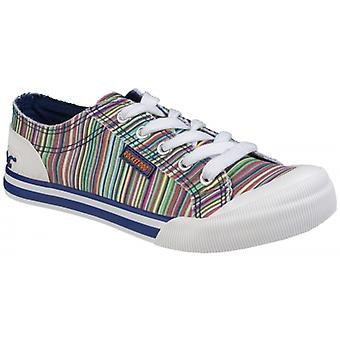 Rocket Dog Jazzin Canvas Ladies Cotton Casual Trainers Natural/multi
