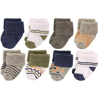 Luvable Friends Baby 8 Pack Newborn Socks,, Boy Aztec 8-pack, Size 0-6 Months