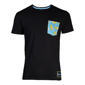 Difuzed Rick et Morty Banana Pocket Mens T-Shirt Small Black (TS110015RMT-S)
