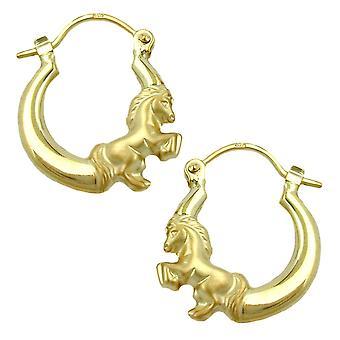 Hoop boucles d'oreilles or 375 boucles d'oreilles or 375 créole, cheval brillant mat 9 KT GOLD