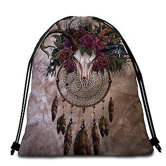 Goat Skull and Roses Beach Towel