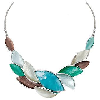 Eternal Collection Haven Aqua Multi Coloured Enamel Silver Tone Statement Necklace